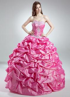 Duchesse-Linie Schatz Bodenlang Taft Quinceañera Kleid (Kleid für die Geburtstagsfeier) mit Rüschen Perlstickerei Applikationen Spitze Pailletten (021016032)