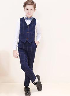 Boys 4 stycken Pläd Passar till ringbärare /Page Boy Suits med Skjorta Väst Byxor Fluga (287204957)