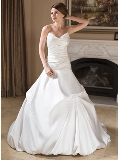 Ball-Gown Sweetheart Chapel Train Satin Wedding Dress With Ruffle (002011779)