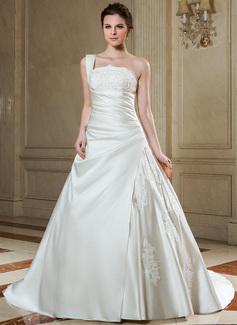 Forme Marquise Encolure asymétrique Traîne mi-longue Satiné Robe de mariée avec Plissé Dentelle Emperler (002000606)