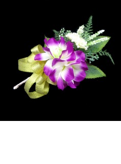 Attractive Free-Form Satin/Cotton Boutonniere/Pin-on Corsage (123031436)