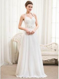 A-Line/Princess Halter Floor-Length Chiffon Wedding Dress With Ruffle Beading Sequins (002054367)