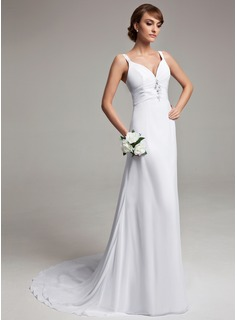 Sheath/Column V-neck Court Train Chiffon Wedding Dress With Ruffle Beading (002012150)