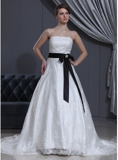 A-Line/Princess Strapless Chapel Train Satin Lace Wedding Dress With Sash Beading Crystal Brooch Bow(s) (002000371)
