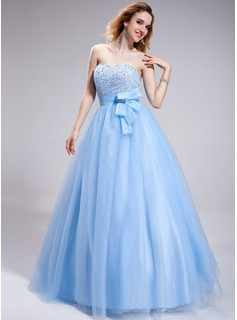 Ball-Gown Sweetheart Floor-Length Organza Tulle Prom Dress With Beading Sequins (018025305)
