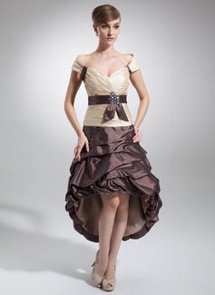 A-Linie/Princess-Linie Schulterfrei Asymmetrisch Taft Ballkleid mit Rüschen Schleifenbänder/Stoffgürtel Perlen verziert (022009147)