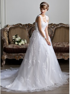Ball-Gown V-neck Chapel Train Tulle Wedding Dress With Lace Beading (002011394)