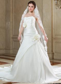 Uno capa Con Aplicación de encaje Velos de novia capilla con Apliques (006040681)