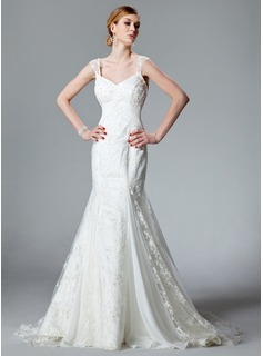 Trumpet/Mermaid V-neck Chapel Train Chiffon Lace Wedding Dress With Ruffle (002000128)