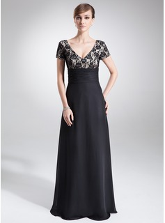 A-Line/Princess V-neck Floor-Length Chiffon Lace Mother of the Bride Dress With Ruffle Beading (008005673)