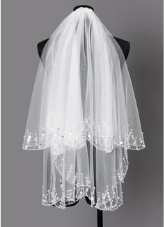 Dos capas Con abalorios Codo velos nupciales con La perla de faux (006203736)