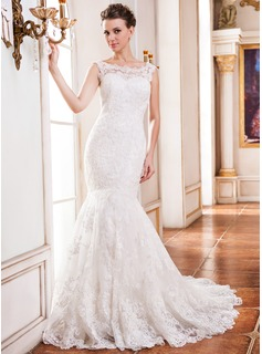 Trumpet/Mermaid Scoop Neck Chapel Train Tulle Lace Wedding Dress With Beading Sequins (002051620)