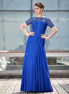 A-Linie/Princess-Linie U-Ausschnitt Bodenlang Chiffon Spitze Kleid für die Brautmutter mit Rüschen Perlen verziert (008018704)