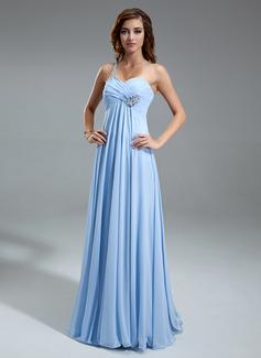 Empire-Linie One-Shoulder-Träger Bodenlang Chiffon Festliche Kleid mit Rüschen Perlen verziert (020025949)