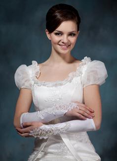 Satén elástico Codo Largo Guantes de novia (014020495)