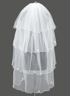 Vierschichten Wellenkante Walzer Braut Schleier mit Satin Schleife/Faux-Perlen (006053188)