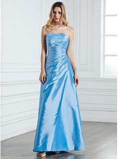 Cheap Bridesmaid Dresses Sheath Strapless Floor-Length Taffeta Bridesmaid Dress With Ruffle Beading (007001076)