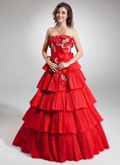 Duchesse-Linie Trägerlos Bodenlang Taft Quinceañera Kleid (Kleid für die Geburtstagsfeier) mit Perlen verziert Applikationen Spitze Blumen Gestufte Rüschen Gefaltet (021016738)