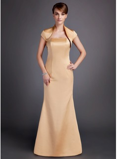 Sheath Strapless Sweep Train Satin Bridesmaid Dress (007000865)