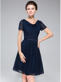 A-Line/Princess Cowl Neck Knee-Length Chiffon Charmeuse Bridesmaid Dress With Ruffle (007050080)