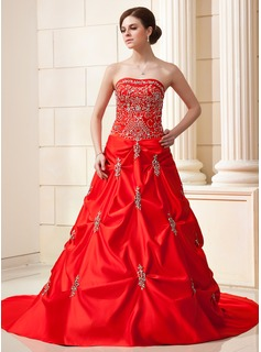 Ball-Gown Sweetheart Chapel Train Satin Wedding Dress With Embroidery Ruffle Beadwork Sequins (002004587)
