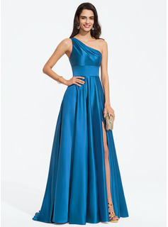 A-Line One-Shoulder Sweep Train Satin Prom Dresses With Split Front (018187201)