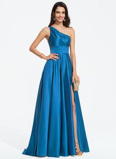 Corte A Un hombro Barrer/Cepillo tren Satén Vestido de baile de promoción con Apertura frontal (018187201)