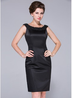 Sheath/Column Off-the-Shoulder Knee-Length Satin Mother of the Bride Dress With Beading (008025761)