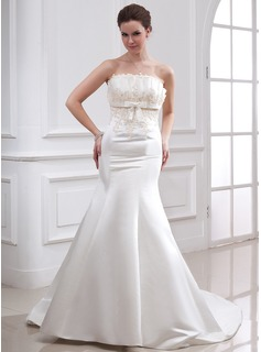 Trumpet/Mermaid Scalloped Neck Chapel Train Satin Wedding Dress With Beading Appliques Sequins Bow(s) (002000079)