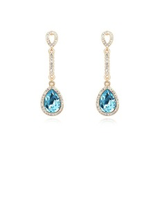 Gorgeous Gold Plated With Crystal Ladies' Earrings (011053644)