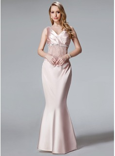 Trumpet/Mermaid V-neck Floor-Length Charmeuse Mother of the Bride Dress With Ruffle Lace Sequins (008003481)