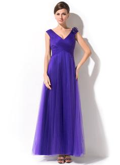 A-Linie/Princess-Linie V-Ausschnitt Knöchellang Tüll Kleid für die Brautmutter mit Rüschen Perlen verziert Blumen (008026215)