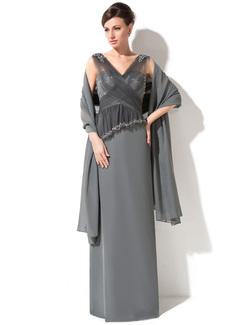 Etui-Linie V-Ausschnitt Bodenlang Chiffon Tüll Kleid für die Brautmutter mit Spitze Perlstickerei Pailletten Gestufte Rüschen (008050382)