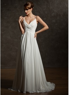 A-Line/Princess V-neck Court Train Chiffon Wedding Dress With Ruffle (002004750)