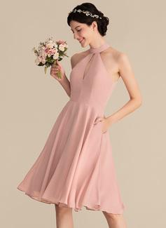 A-Linie/Princess-Linie U-Ausschnitt Knielang Chiffon Brautjungfernkleid mit Spitze Taschen (007153304)