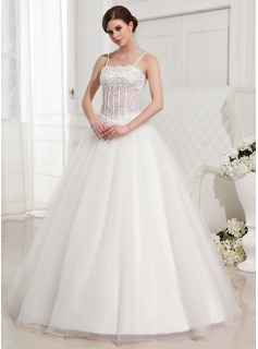 Ball-Gown Floor-Length Satin Tulle Wedding Dress With Lace Beadwork (002000409)