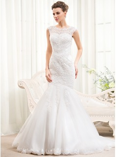 Trumpet/Mermaid Scoop Neck Sweep Train Tulle Lace Wedding Dress With Beading Sequins (002054372)