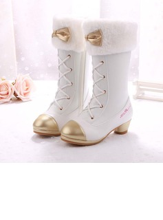 Girl's Closed Toe Microfiber Leather Low Heel Boots Flower Girl Shoes With Bowknot Lace-up Crystal (207182417)