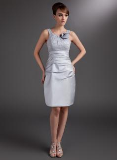 Etui-Linie U-Ausschnitt Knielang Satin Kleid für die Brautmutter mit Rüschen Blumen (008006032)