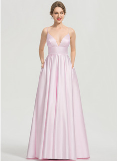 Corte A Escote en V Hasta el suelo Satén Vestido de baile de promoción con Bolsillos (018192360)