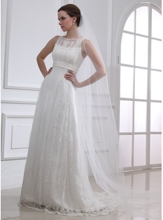 Cheap Wedding Dresses A-Line/Princess Scoop Neck Sweep Train Satin Tulle Wedding Dress With Lace Beadwork (002004543)