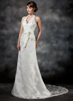 Forme Princesse Dos nu Traîne moyenne Dentelle Robe de mariée avec Ceintures Emperler Sequins (002011503)