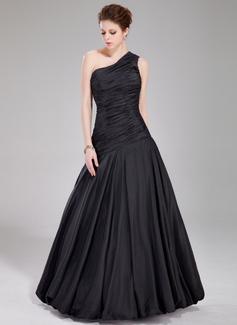 A-Line/Princess One-Shoulder Floor-Length Taffeta Prom Dress With Ruffle (018022534)
