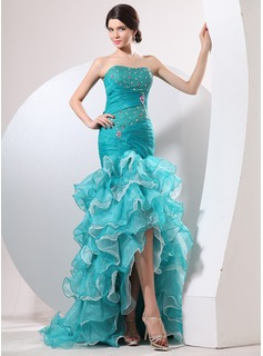 Cheap Prom Dresses Mermaid Sweetheart Sweep Train Organza Prom Dress With Ruffle Beading (018014058)