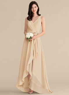A-Linie/Princess-Linie V-Ausschnitt Asymmetrisch Chiffon Brautjungfernkleid mit Rüschen Schleife(n) (007153327)