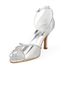 Frauen Kunstleder Stöckel Absatz Peep Toe Sandalen mit Straß (047011868)