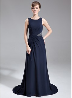 A-Linie/Princess-Linie U-Ausschnitt Sweep/Pinsel zug Chiffon Kleid für die Brautmutter mit Rüschen Perlen verziert (008005708)