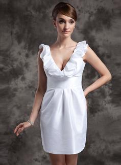 Forme Fourreau Col V Courte/Mini Taffeta Robe de mariée avec Robe à volants (002014989)