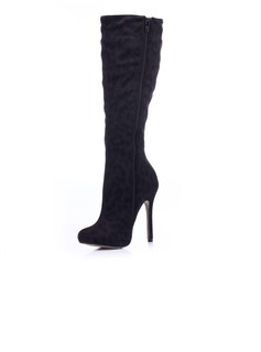 Suede Stiletto Heel Knee High Boots With Animal Print Zipper shoes (088036352)