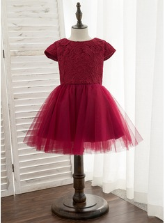 A-Line Knee-length Flower Girl Dress - Satin/Tulle/Lace Short Sleeves Scoop Neck With Bow(s) (010172338)
